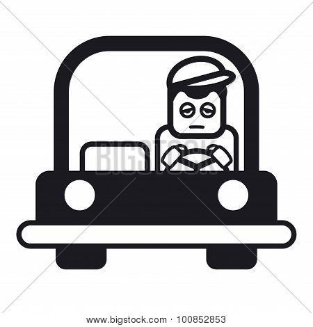 Tired Sleepy Young Man Driving A Car. Vector Illustration.