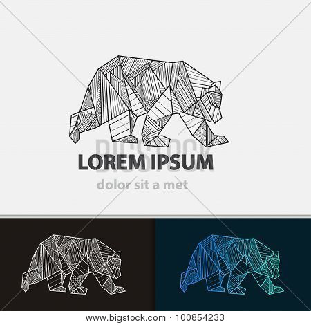 Creative Stylized Icon Bear. Vector Idea Ferocious Beast. Triangle Shape With Lines.