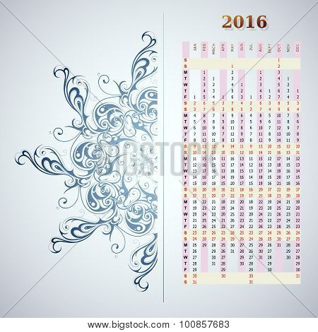 Year 2016 vertical calendar