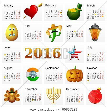 Year 2016 calendar with Holiday symbols