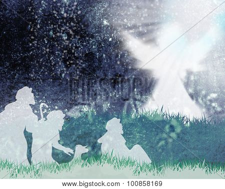 Shepherds and angel silhouette