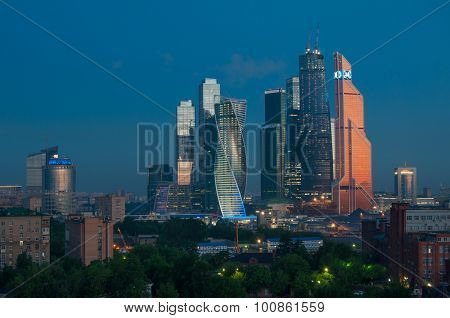 MOSCOW - MAY 25, 2015: Nigth Moscow International Business Center. Investments in Moscow International Business Center was approximately 12 billion dollars