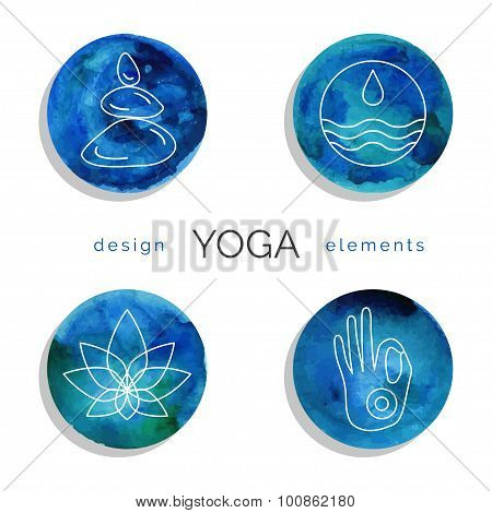 Vector yoga illustration. Set of linear yoga icons, yoga logo in outline style. Design elements for yoga poster. Yoga class, yoga center, yoga studio, spa center. Yoga symbols with watercolor texture poster
