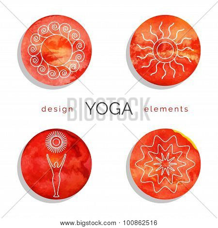 Set of linear yoga icons in red colors.