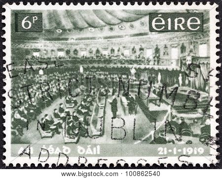 IRELAND - CIRCA 1969: A stamp printed in Ireland shows Dail Eireann Assembly
