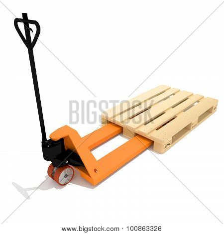 Orange manual hand hydraulic pallet truck
