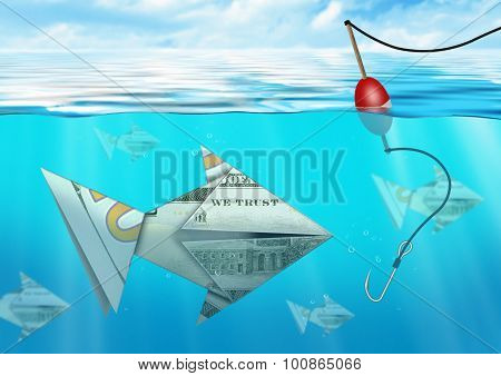 Creative Business Concept, Catching Fish Made From Money Under Water