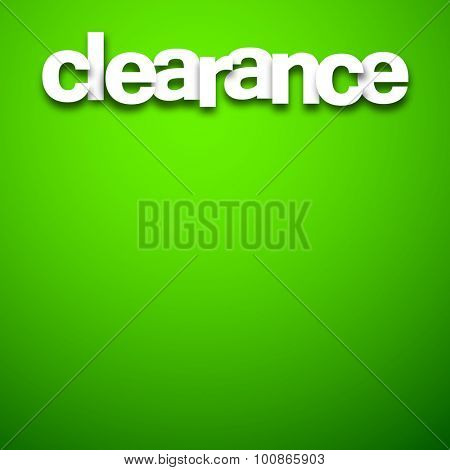 White clearance sale sign over green background. Vector illustration.