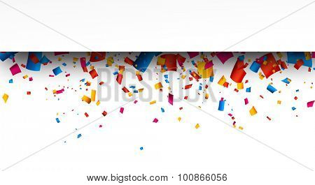 Colorful strip celebration background with confetti. Vector Illustration.