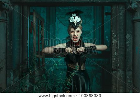 Horrible Woman Stands In The Crypt And Screams.