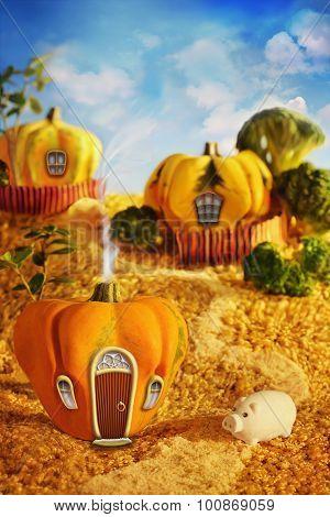 Cartoon Pumpkin Houses