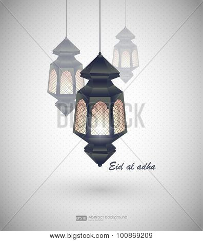 Eid al adha. Greeting card template on Eid Al-Fitr muslim religious holiday with lanterns on blurred lights background. Mosque for Islamic holy month of prayer, Ramadan Kareem celebration