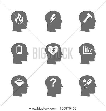 Mental health icons set,  Stress concept, depression. Load desperate, emotional desperation, sadness