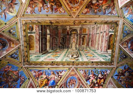 Interior Of Gallery Of The Vatican Museum In The Vatican City, Rome, Italy