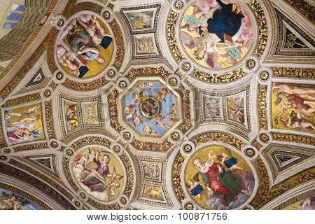 Ceiling Of Gallery In The Vatican Museum, Vatican, Rome, Italy