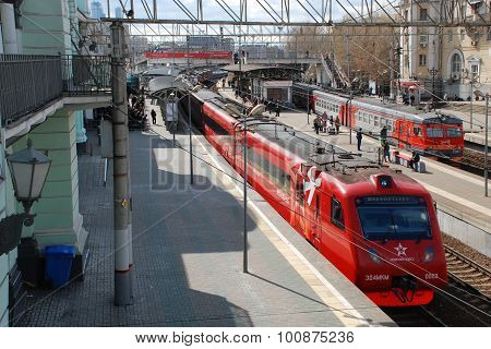 Moscow. Russia, April 21 2015. The Belorussian station. Fast train. Moscow - an aeroport Sheremetiev
