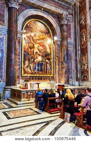 Vatican City, Vatican - October 29: Faithful Pray Before The Tomb Of St. John Paul Ii At The Basilic