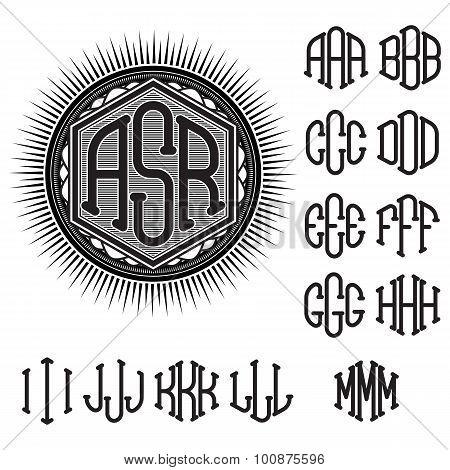 Set Of Letters For Decoration Stylish Retro Monogram