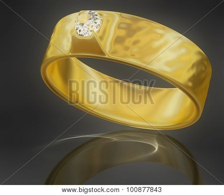 Golden Ring with a Diamond
