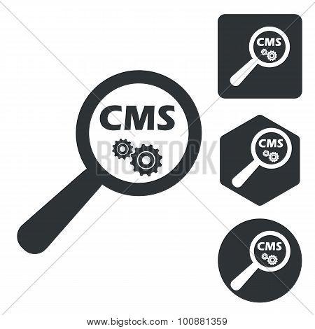 CMS search icon set, monochrome