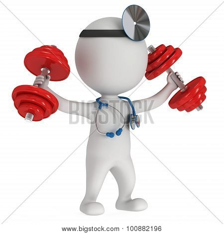 3D Doctor With Stethoscope And Red Dumbbells