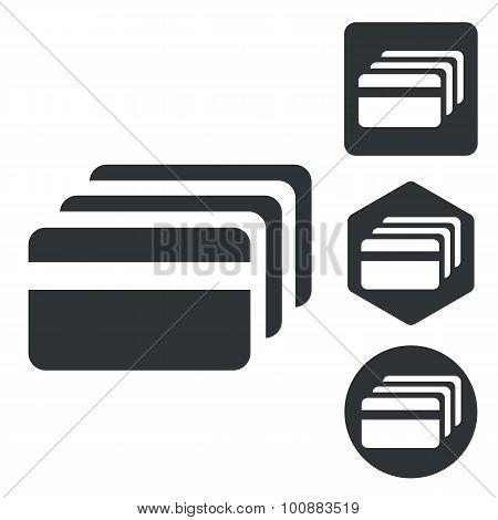 Credit card icon set, monochrome