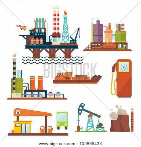 Oil industry business concept of gasoline diesel production fuel distribution and transportation four icons composition vector illustration poster