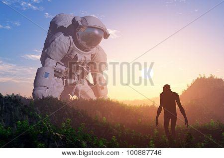 Astronaut exploring an alien planet.