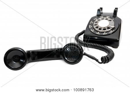 Rotary Dial Telephone Receiver In Focus