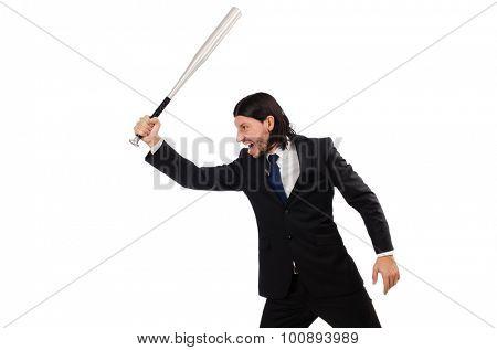 Young elegant man holding bat isolated on white