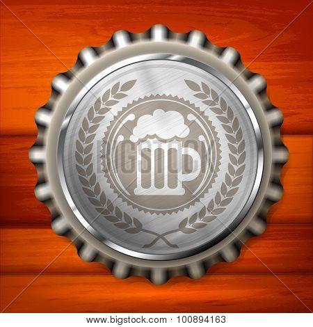 Bottle Cap With Beer Mug & Wreath