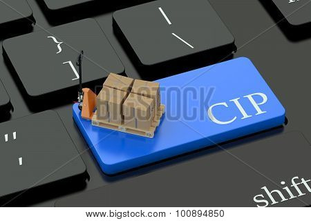 Cip Deliwery Terms Concept On Blue Keyboard Button