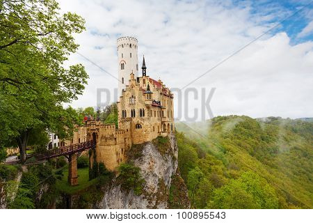 View of the Lichtenstein Germany castle in clouds