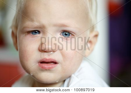 Small crying toddler after a temper tantrum at home defying parents. Childhood developmental phase hard parenthood concept. poster
