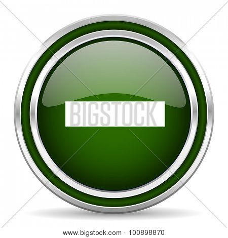 minus green glossy web icon modern design with double metallic silver border on white background with shadow for web and mobile app round internet original button for business usage