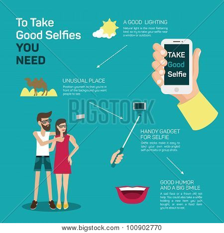 The best selfie tips. How to make a selfie infographic. Phone and photo, portrait instruction, device and equipment, creative smart mobile picture. Vector illustration poster