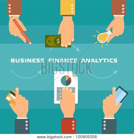 Vector set of hands - clients purchasing work in flat style. Hands with cards. Finance and business infographic poster