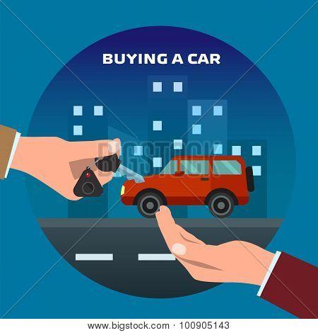Buying car. Man gets keys