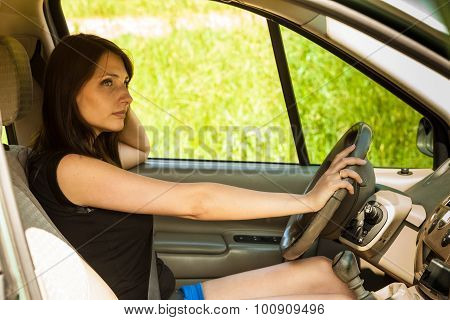 Woman Driving Car. Summer Vacation Trip Travel.
