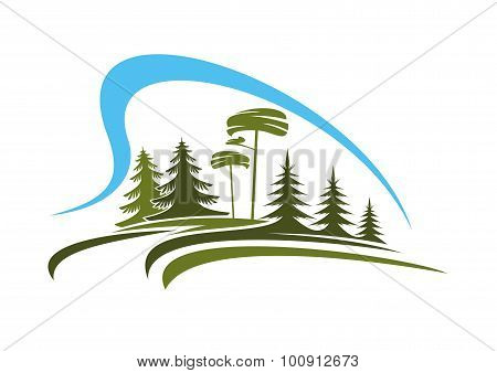 Forest emblem with glade, trees and sky
