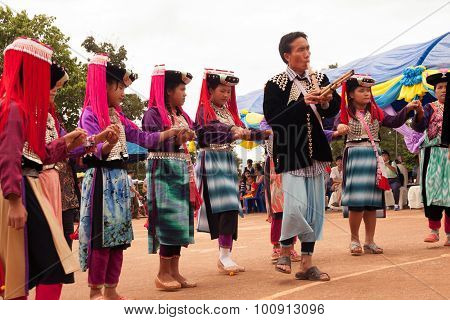 Mein Hill Tribe Traditional Dancing In Thailand.
