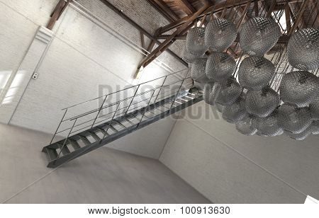 Tilted Architectural Interior View of Empty Loft Space with Staircase and Modern Light Fixture or Modern Sculpture Hanging from Ceiling. 3d Rendering.