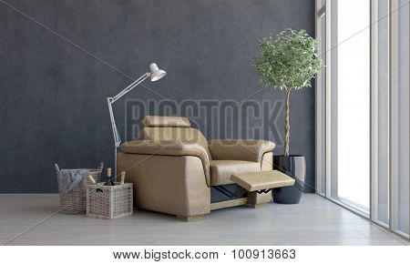 Comfortable brown leather recliner chair placed facing a view window with modern anglepoise lamp and wine bottles in a basket alongside. 3d Rendering. poster