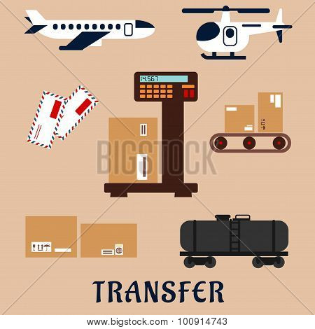 Air and rail freight service icons