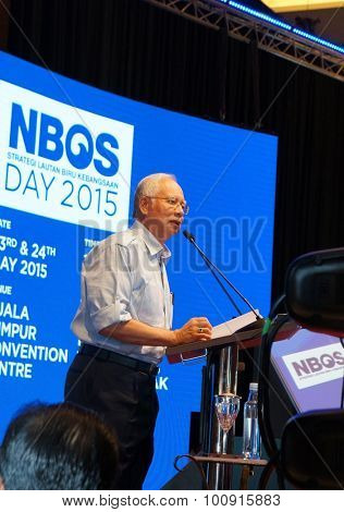 KUALA LUMPUR, May 23, 2015 - Prime Minister Datuk Seri Najib Tun Razak giving a speech during the National Blue Ocean Strategy (BOS) Open Day 2015 at the Kuala Lumpur Convention Center.