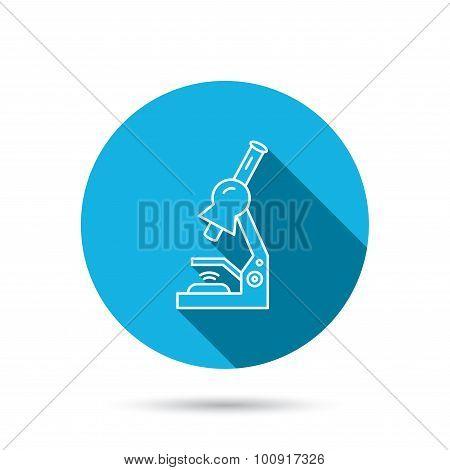 Microscope icon. Medical laboratory equipment.