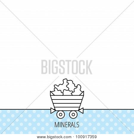 Minerals icon. Wheelbarrow with jewel gemstones sign. Circles seamless pattern. Background with icon. Vector poster