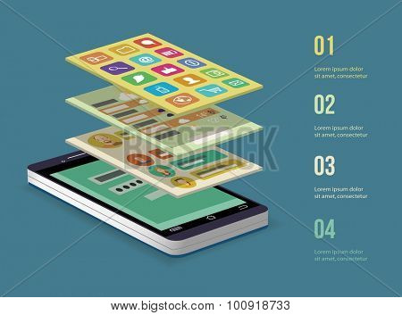 Mobile application concept. Smart  phone. Vector illustration.