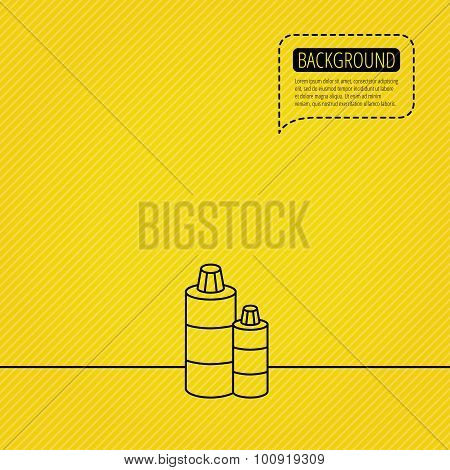 Shampoo bottles icon. Liquid soap sign. Speech bubble of dotted line. Orange background. Vector poster