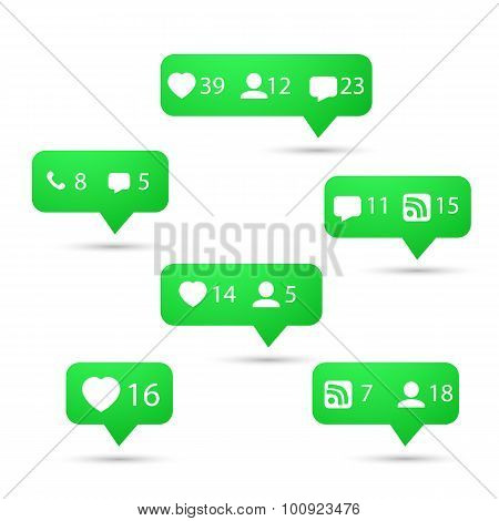 Illustration of Set of Social Media Network Vector Icons. Include Like, Follow, Call, Message etc. Icons poster